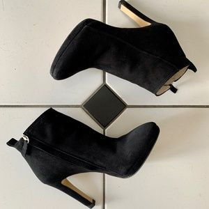 Zara Suede High Heel Black Ankle Boots